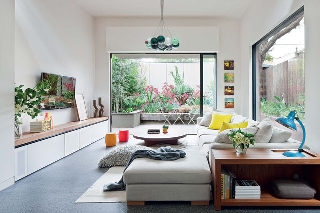 big windows and built-in furniture