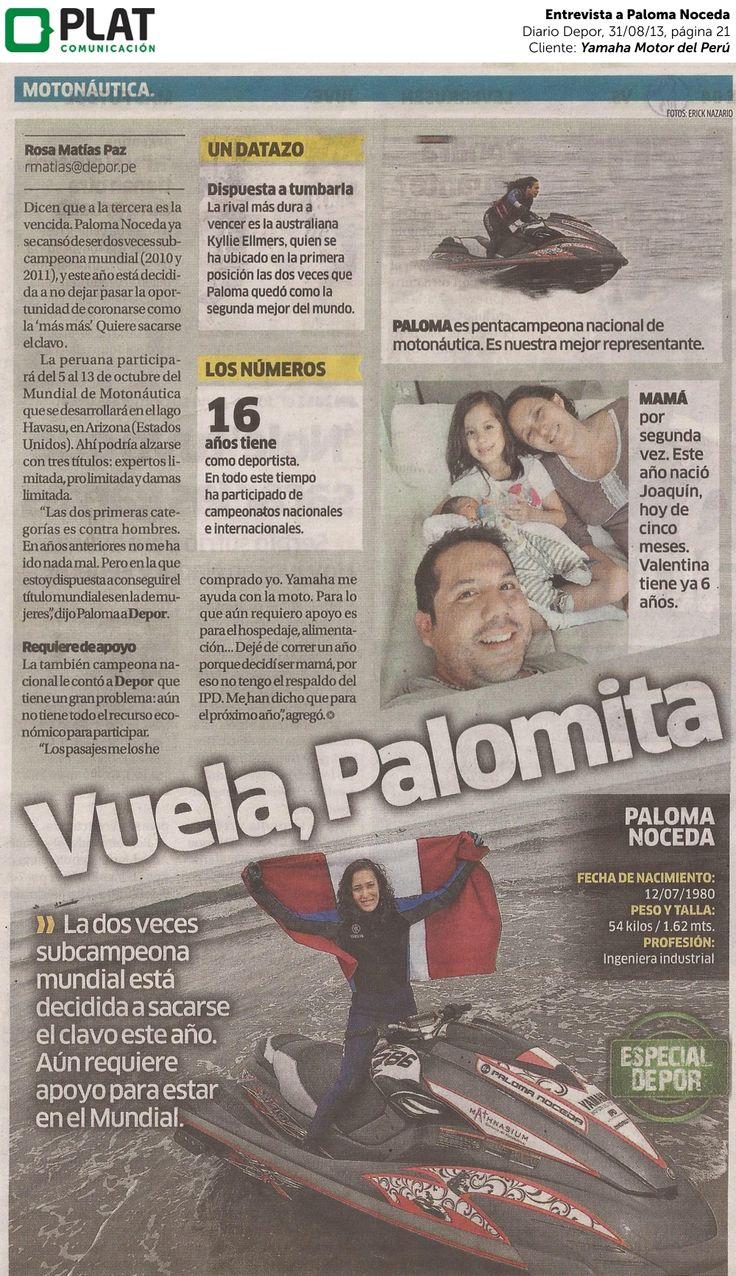 Yamaha: Entrevista a Paloma Noceda en el diario Depor de Perú (31/08/13)
