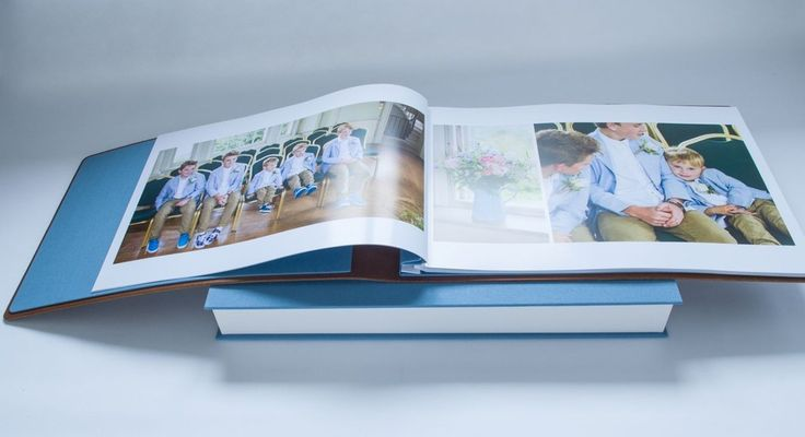Wedding album pictures printed out on large format A3 art paper and then inserted into album using H&Co hinge strips