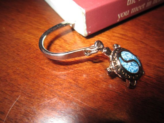 Metal Bookmark with Blue Turtle by BurrowsOfAccessories on Etsy, $13.00