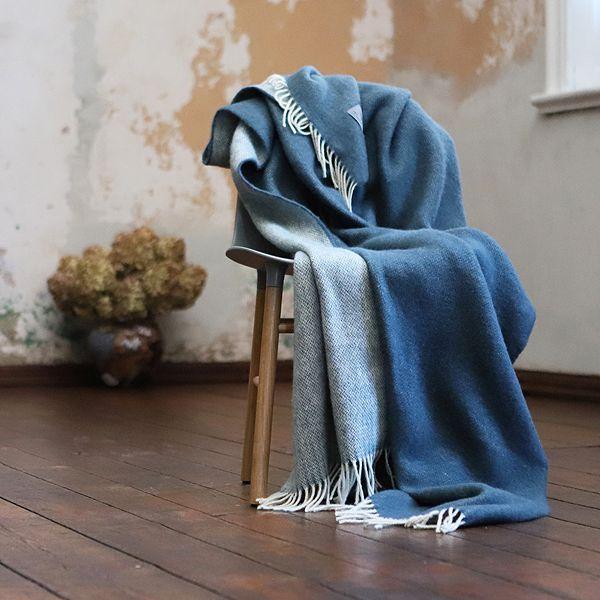 Wolldecke Plaid Blau Skandinavisches Design Plaid Wolldecke