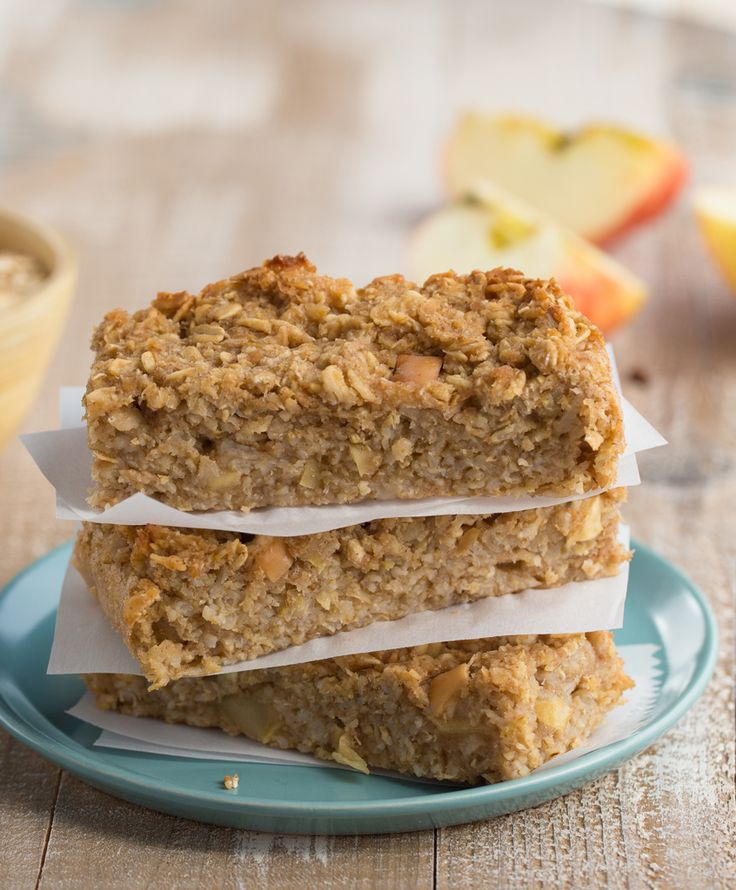 These moist, cakey bars make a perfect all-in-one breakfast. You can freeze individual portions in ziplock bags, and just grab and go. They're sweet and apple-y, with all of the goodness of whole apples and whole oats in every tasty bite.