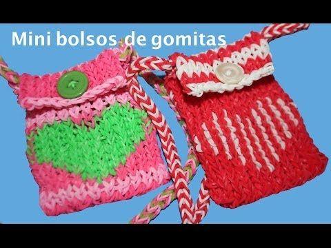 Como hacer con gomitas o ligas un bolso. purse Rainbow Loom - YouTube
