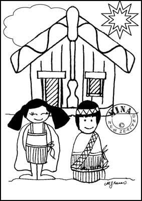 Maori Printables: Kids and Marae Colouring Page