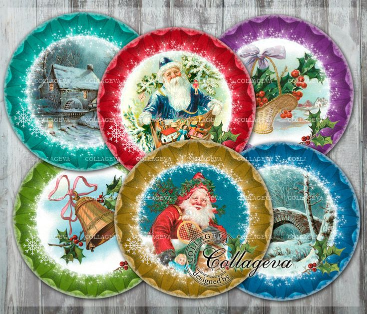 "Vintage Christmas Digital Collage Sheet 4"" 3"" 2.5"" 2 inch circles for Coasters Pocket mirror Santa Claus Holly Snowflake Bell Basket (EC02-c by collageva on Etsy"