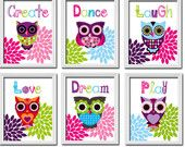 Items similar to OWL Wall Art Nursery Playroom CANVAS Girl Child Colorful Set of 6 Prints Flower Create Play Laugh Love Dream Dance Decor Bedroom on Etsy