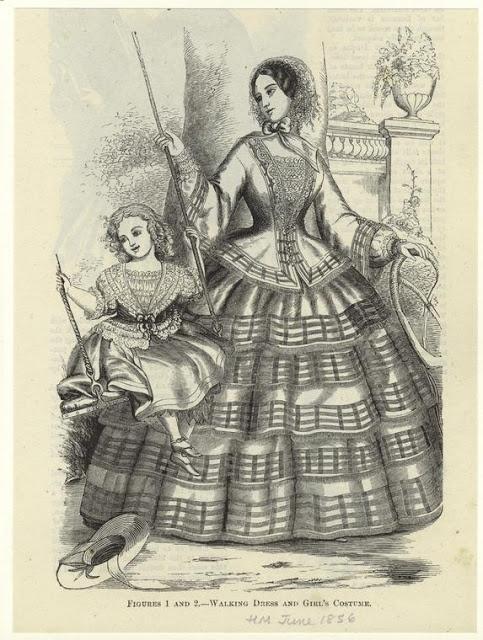 Walking costume & girl's dress. Harper's Magazine, June 1856. NYPL Digital Gallery.  Civil War Era Fashion Plate