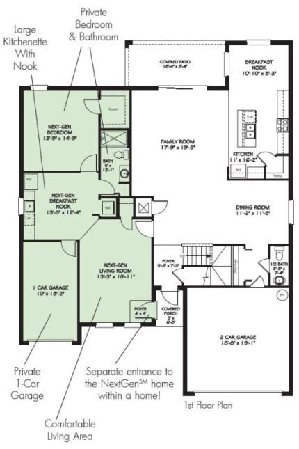 Love love this layout for mother in law separate living for Homes with separate living quarters