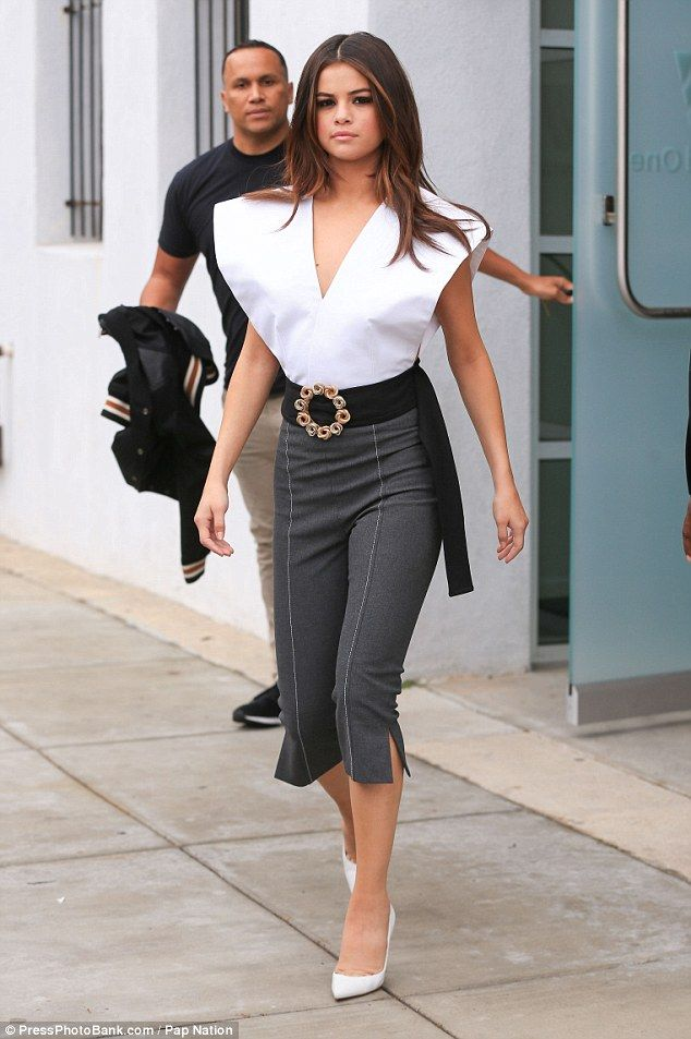 We all make mistakes: Selena Gomez's suffered a fashion faux pas in an edgy white top on Thursday