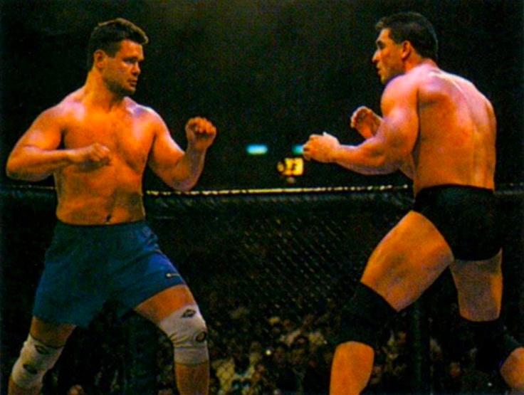 Oleg Taktarov vs. Ken Shamrock. Two master grapplers, Ken was much too strong for Oleg though.
