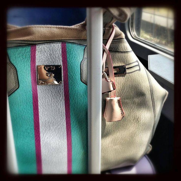 Travelling with Francesca and V73 Bandes Taupe http://www.v73.us/new-happy-day/bandes/231-taupe #v73 #bag #travel #v73mood