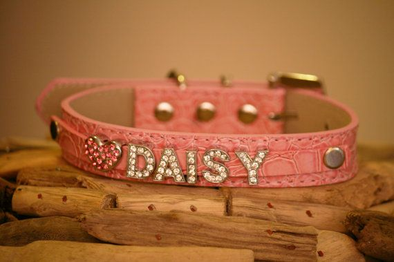 Personalized Gift Pink leather dog collar Beaded dog by LADogStore