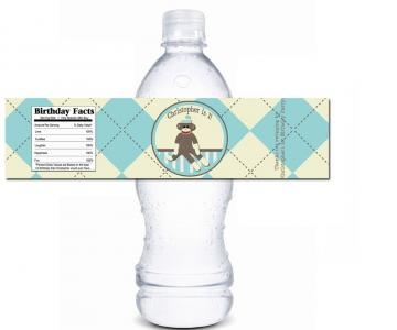 Water bottle label with sock monkey, what a way to Start the Party! On #Zibbet