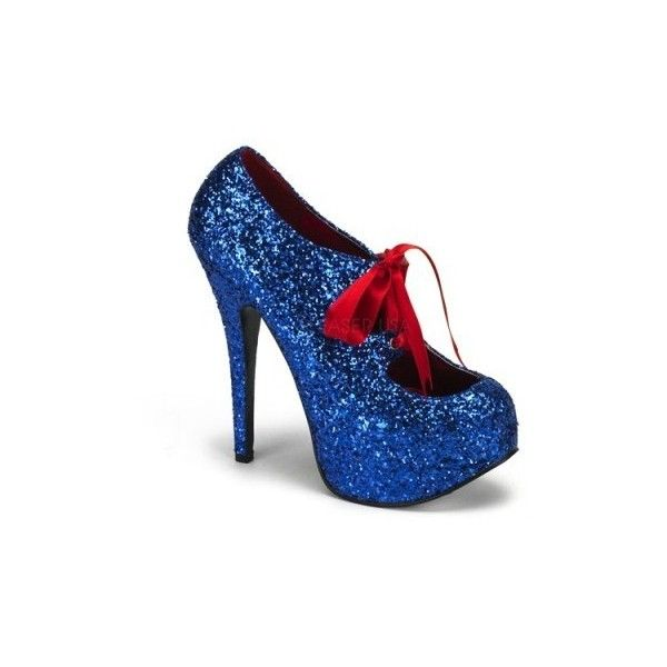 Bordello Teeze 10G Blue Glitter Concealed Platform Court Shoes with... ($95) ❤ liked on Polyvore featuring shoes, pumps, blue high heel pumps, high heeled footwear, stiletto pumps, lace up pumps and high heel pumps