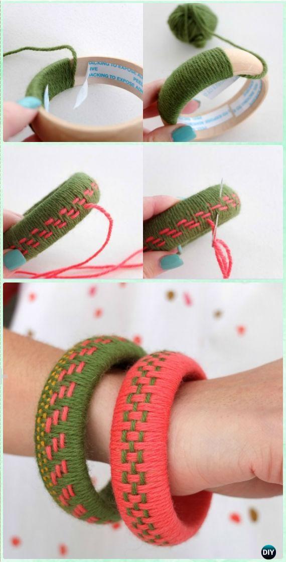 DIY Woven Yarn Bangles Instruction - Yarn #Crafts No Crochet