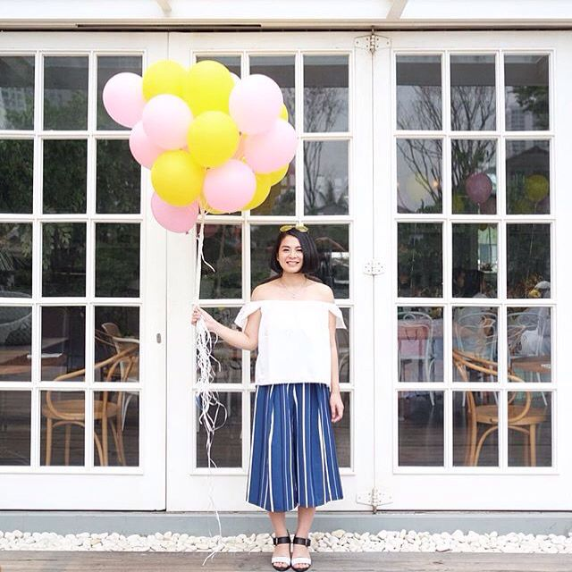 Andra Alodita in our Cosby striped culottes from F/W 2015