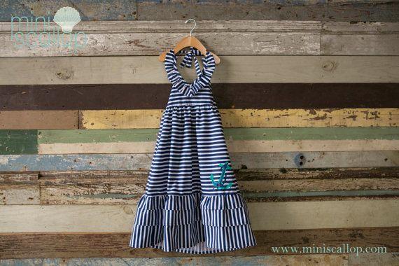 Girls Anchor Nautical Stripe Maxi Dress Stripe Maxi by MiniScallop