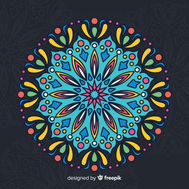 Colorful Mandala Concept Background Free Vector Mandala Sketch Mandala Coloring Dot Art Painting