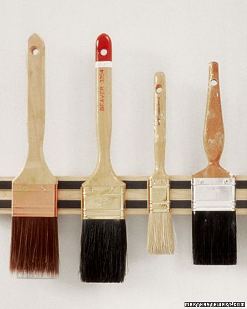 Paintbrush Rack - Magnetic knife holders sold at kitchen-supply stores can be mounted to the wall with a few screws and will keep paintbrush bristles from being squashed. Hang the brushes bristle end down for proper drying and to minimize the amount of dust that collects between the bristles. You can also store other metal tools and utensils this way.