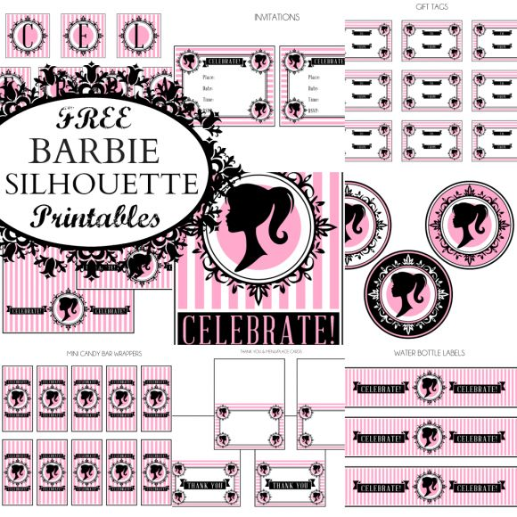 "{FREE Vintage Barbie Party Printables from Printabelle} The collection includes: invitations, gift tags, large party circles, ""Celebrate"" banner (large and small), mini candy bar wrappers, party circles, treat toppers, thank you & menu/place cards, water bottle labels."