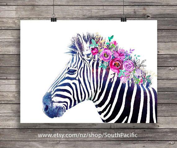 Druckbare Kunst  Aquarell Blumen Mähne Regenbogen-Zebra