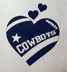 Dallas Cowboys Football Heart Vinyl Decal - Bumper Sticker - Window Decal - Computer Decal - Window Cling also available!