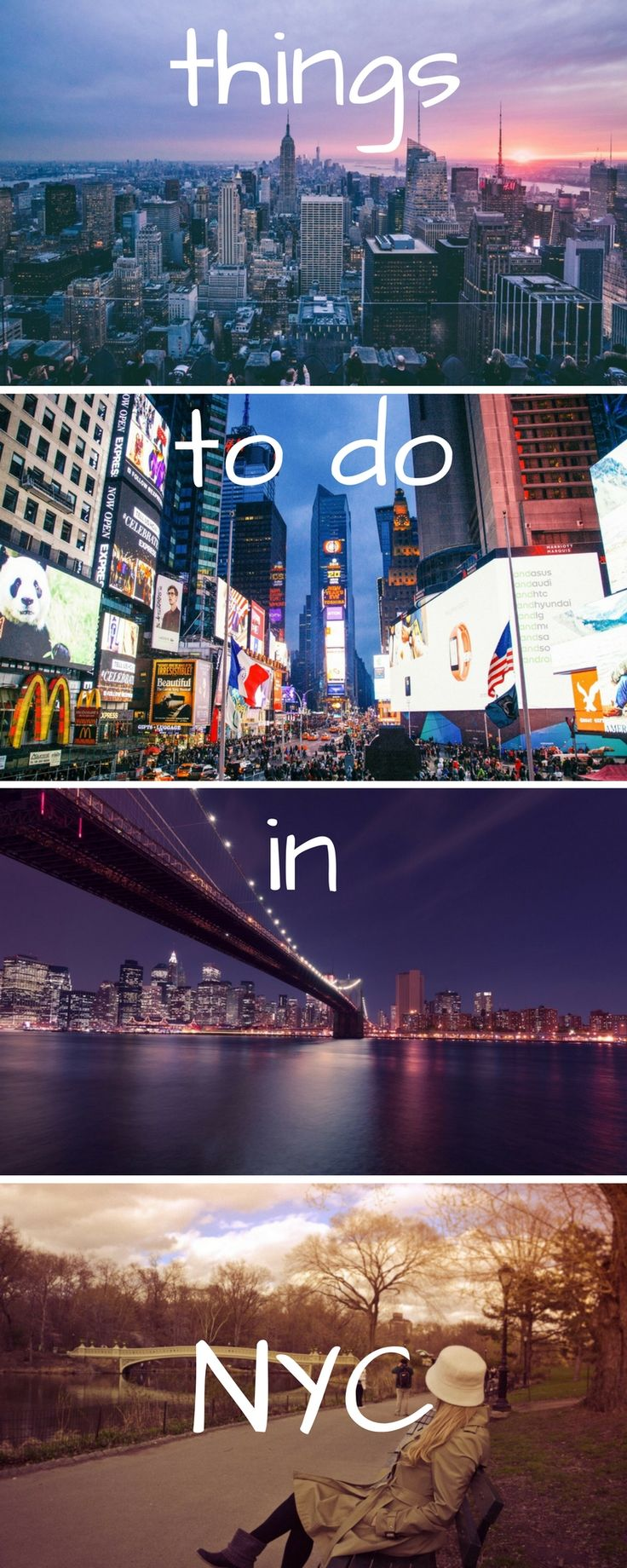 Top things to do in NYC! See the art, fashion, restaurants, skyline, shopping, nightlife, museums, central park and times square when you travel to New York City. Here are all our tips for your trip.