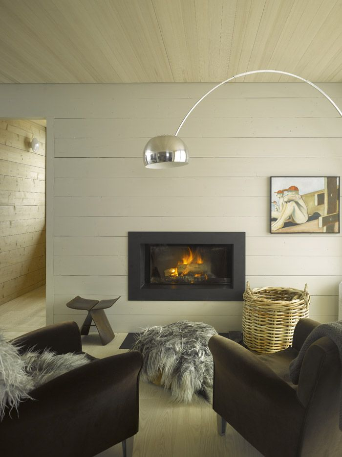 Architecture, Remarkable Interior Design Featuring Arc Bowl Lighting Dark Sofa With Furry Cloth Wood Grey Color Wall With Parquet Ceiling And Floor Fireplace Large Glass Rattan: Bed and Breakfast Design Completing Your Family Vacation in Vals