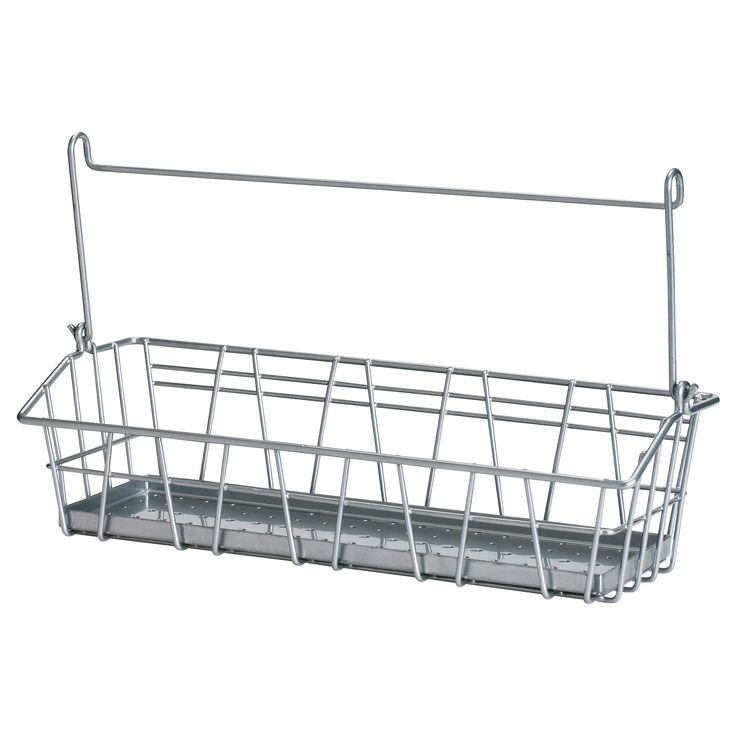 BYGEL Wire basket - IKEA $2.99 I want to get a couple of these to hang on a low shower curtain rod against the back wall of the bath tub for the kids' bath toys. I think I'd have to use shower hooks to make them stay.