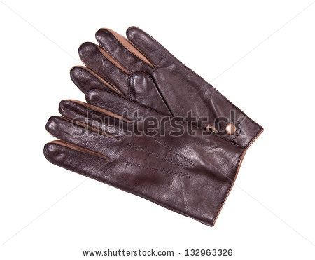 male brown  glove isolated on white