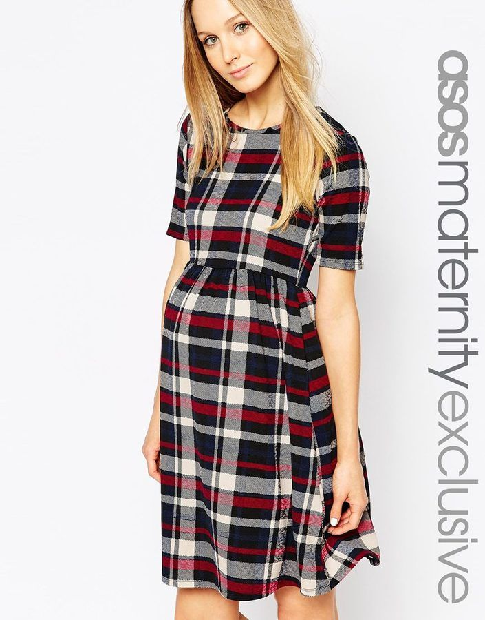 ASOS Maternity Skater Dress In Check Print With Cut Out $50.00