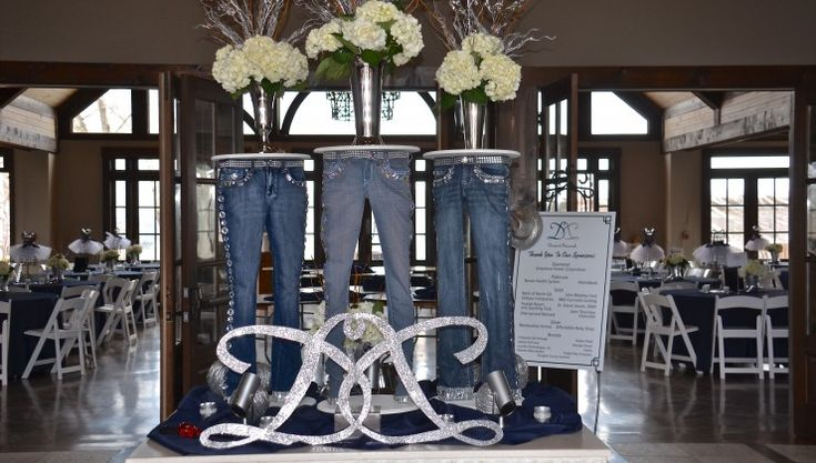 17 best images about diamonds and denim theme party on for Denim centerpieces