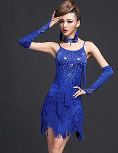 Taniec+latynoamerykański+Suknie+Damskie+Wydajność+Spandex+Wiskoza+5+elementów+Ubierać+Rękawice+Neckwear+Szorty+–+PLN+zł+1+977,71