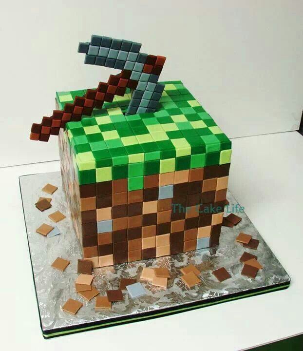 Minecraft cake. @Beth J J Hazel @Jennifer Milsaps L Hazel Do you think either of your cake ladies could do this? I don't think I'm skilled enough for it!