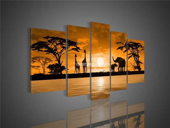 5 Piece Wall Art African Abstract Sunset The Giraffe Elephant Pictures Oil  Painting On Canvas For