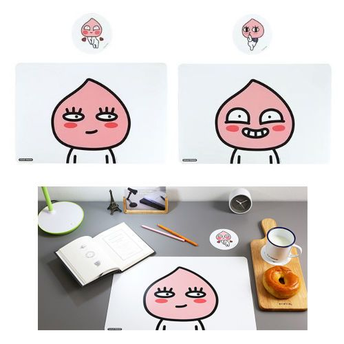 Kakao Friends Apeach Kitchen Dining Desk Table Mat 2 pcs Cup Coster 2pcs #DaumKakaoFriends