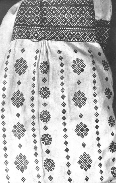 """detail of woman's sleeve, eastern Podillia, embroidered with """"nyz"""" technique."""
