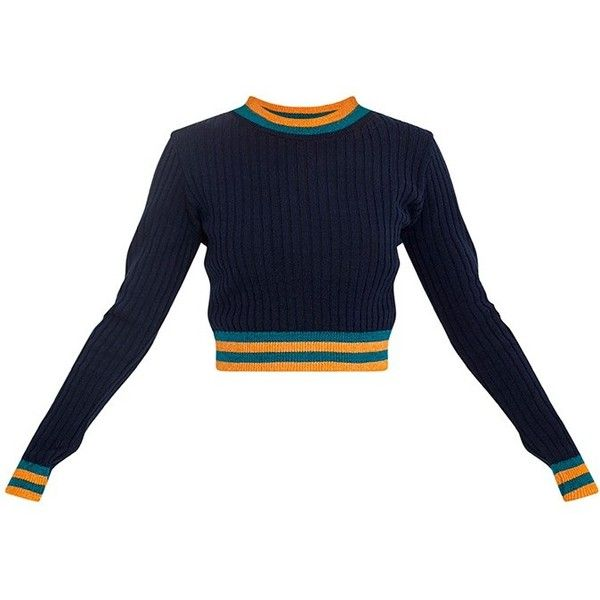 Zofia Navy Tipped Knitted Crop Top ($40) ❤ liked on Polyvore featuring tops, knit top, stretchy tops, stretch crop top, blue top and stretchy crop top
