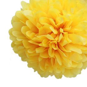 Dress My Cupcake 14` Sunflower Yellow Tissue Paper Pom Poms, Set of 4 - Fiesta Party Supplies, Cinco De Mayo Party Decorat... $15.99