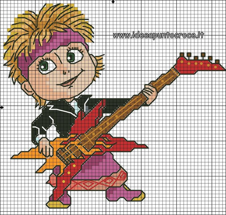 schema punto croce Masha rockstar