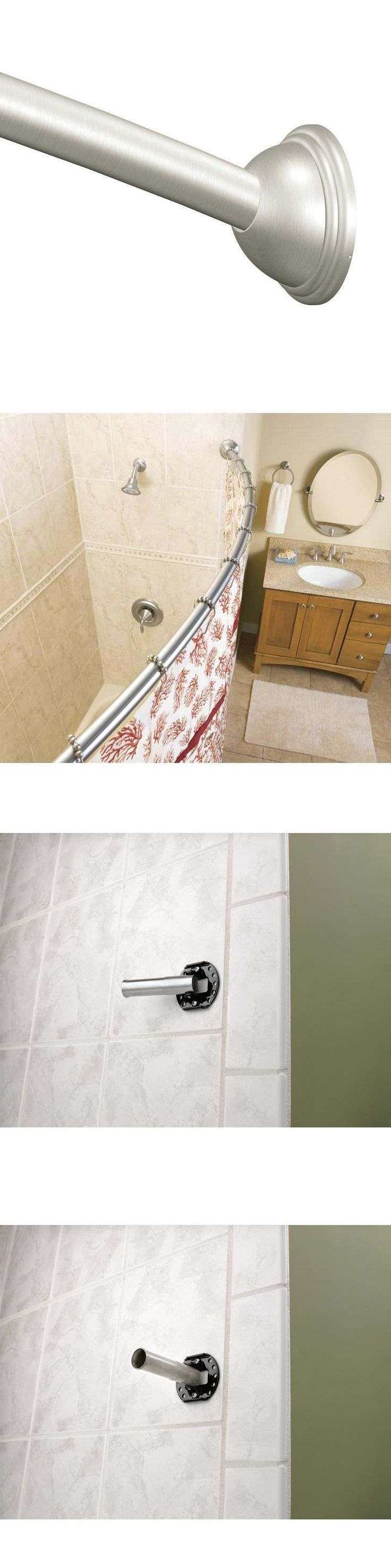 Shower Curtain Rods 168132: Moen 60 In. Curved Shower Curtain Steel Rod  Pivoting Flanges