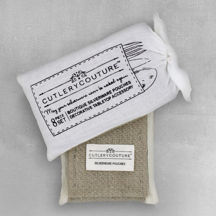 """Package includes 8 natural burlap pouches wrapped with a hand-tied ribbon. Pouches are 6"""" X 3 3/8"""" - custom sized to hold a napkin and set of silverware."""