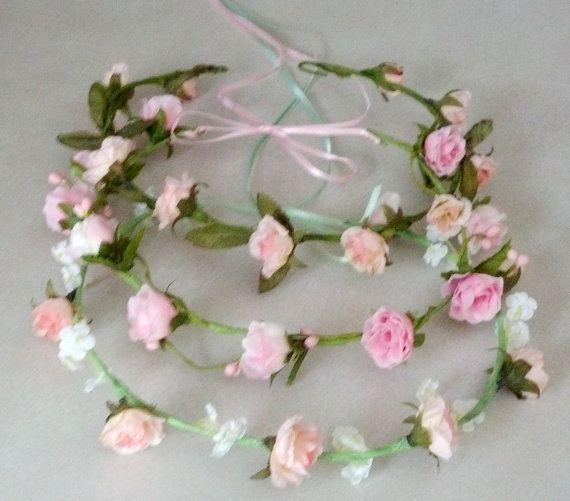 Flower girl halo pink Bridal Floral Crown Hair Wreath Mint Green headwreath wedding accessories headpiece bridesmaid hair garland circlet