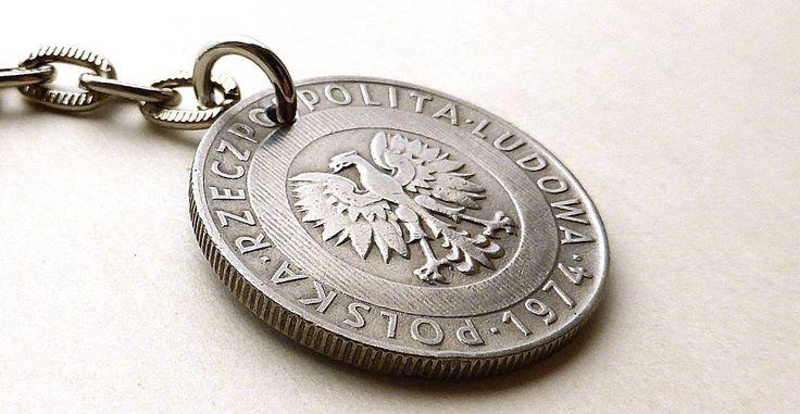 Polish, Coin keychain, Polish charm, Coins, Vintage charm, Eagle keychain, Eagle charm, Bird charm, Gifts under 20, Poland, Charms, 1974 by CoinStories on Etsy