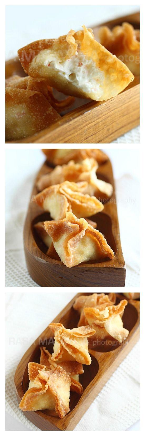 Cream cheese wontons or crab Rangoon. 3 ingredients, super fast, easy, and yummy | rasamalaysia.com