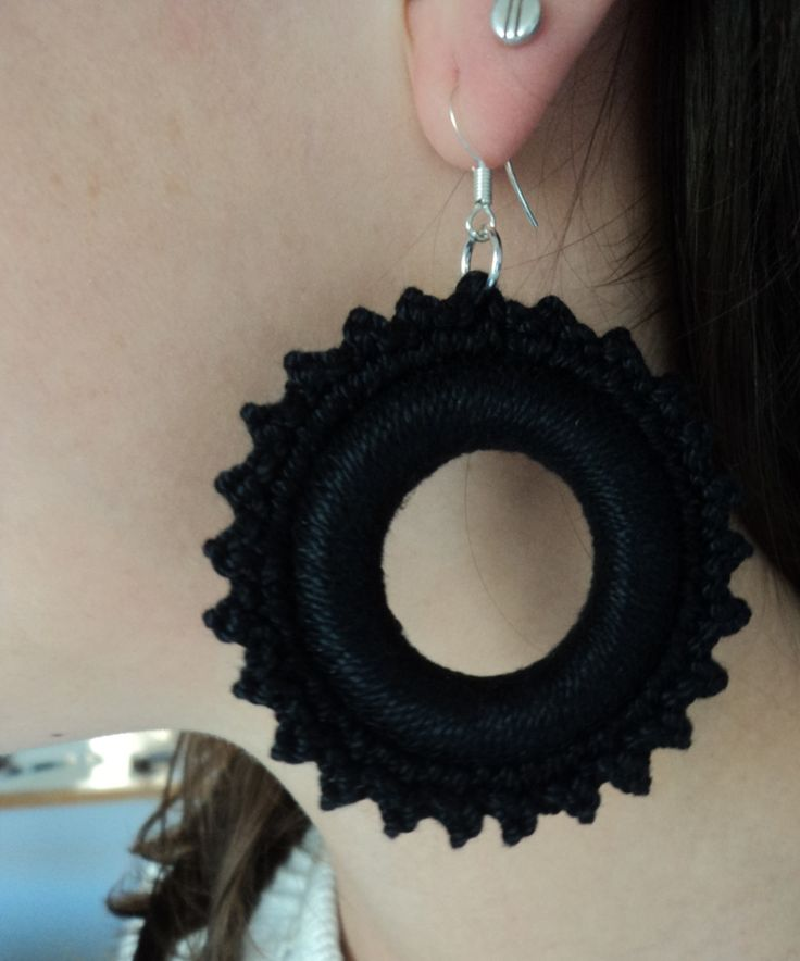 http://annmack.co.za/store/products/category/handmade-jewellery/  Black Handmade crochet earrings with silver hooks