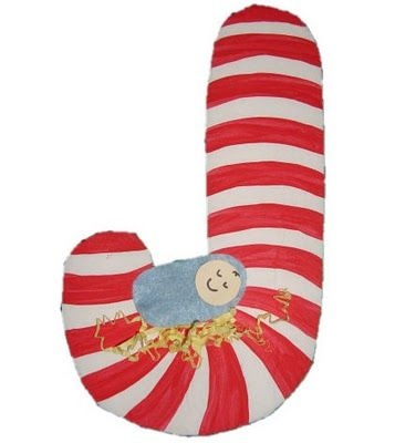 "J is for Jesus candy cane. Did a similar version in sunday school. Kids loved it. My daughter still says ""J for Jesus"" when she sees a candy cane!! :)"