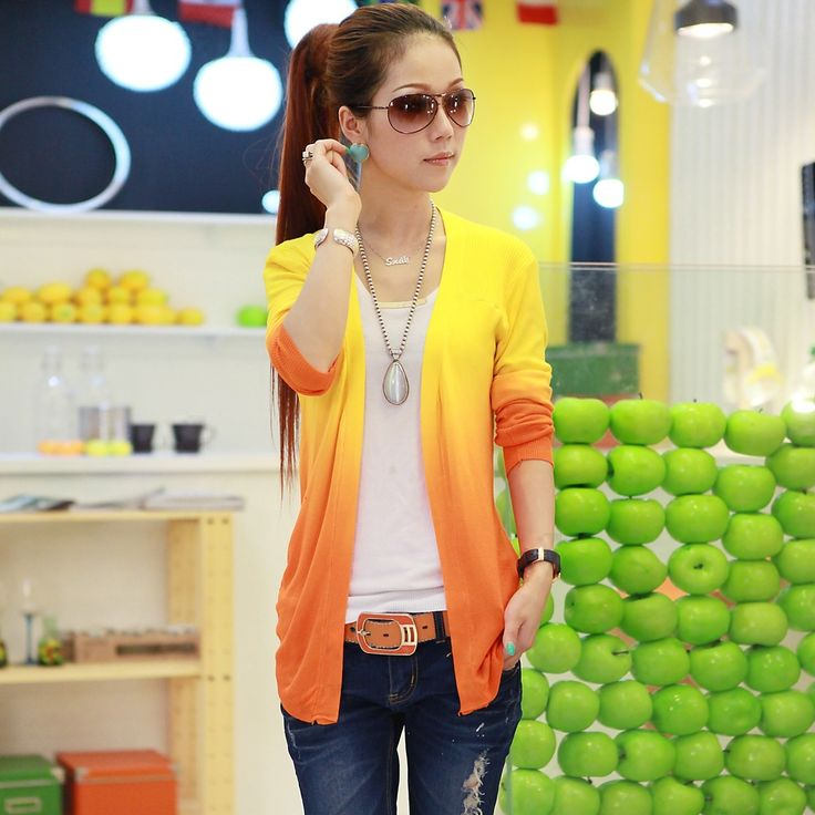 FREE SHIPPING 2013 Fashion Best Sweater Female Cardigan Stripe Ink Gradient Color New Arrival Spring And Autumn Outerwear Y33 US $11.86