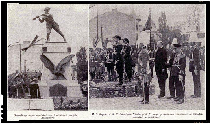 La 22 mai 1931 avea loc in Bucuresti, in prezenta regelui Carol al II-lea, dezvelirea Monumentului Regimentului 9 Vânători.