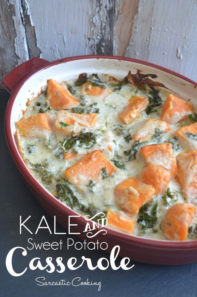 Kale and Sweet Potato Casserole | I came up with this recipe and seriously worked on it for two days until all the flavors and the sauce came together just as I wanted to. And you know Mike was super psyched to eat lots of kale for two days in a row! Hey, at least I felt good about my time well spent. | From: Sarcastic Cooking